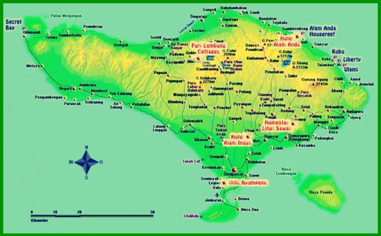 Peta Wisata Pulau Bali