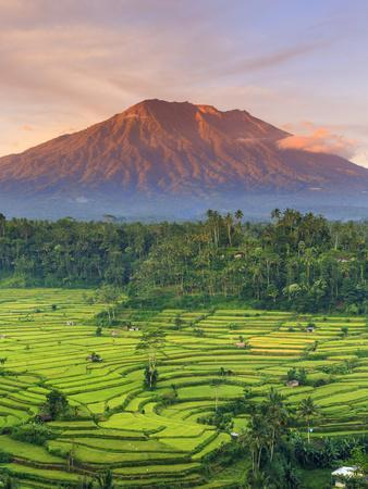 indonesia bali redang view of rice terraces and gunung agung volcano_u l pjbm7b0